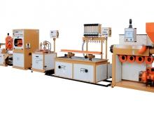 Linea per la produzione di profili rigidi in PVC con punzonatrice in linea